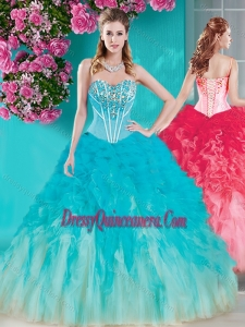 New Arrivals Visible Boning Beaded Quinceanera Dress in White and Blue