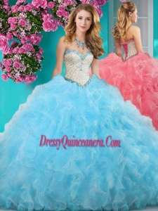 New Style Really Puffy Light Blue Quinceanera Gown with Beading and Ruffles