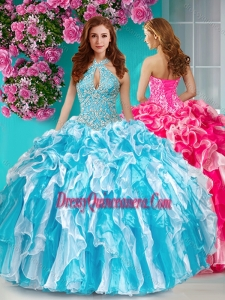Unique Beaded and Ruffled Halter Top Quinceanera Dress in Baby Blue and White
