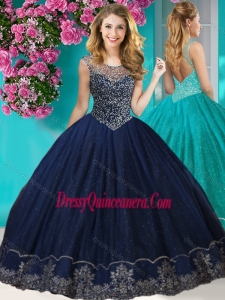 Unique See Through Scoop Quinceanera Dress with Beading and Appliques