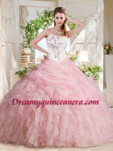 Affordable Asymmetrical Beaded Quinceanera Dress with Visible Boning Bubbles and Ruffles