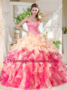Cheap Big Puffy Colorful Quinceanera Gown with Beading and Ruffles