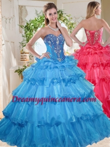 Elegant Puffy Skirt Beaded and Ruffled Layers Quinceanera Gown