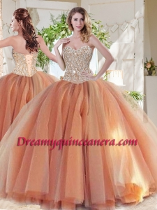 Exclusive Beaded Really Puffy Sweet 16 Dress in Orange