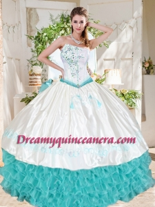 Exclusive Ruffled and Beaded Asymmetrical Quinceanera Dresses with White and Aqua Blue