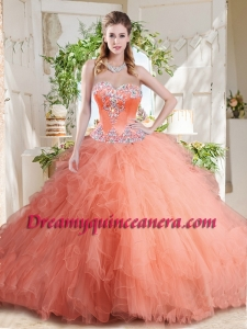 New Arrivals Beaded and Ruffled Big Puffy Quinceanera Dress with Orange