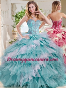 Popular Beaded and Ruffled Big Puffy Sweet 16 Dress in Blue and White