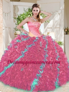 Beautiful Beaded Pleated and Ruffled Big Puffy Quinceanera Dress in Rainbow
