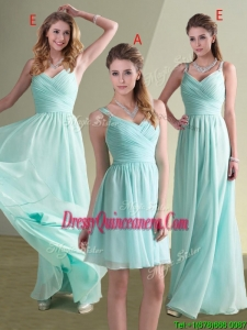 2016 Straps Beaded and Ruched Aqua Blue Dama Dress in Chiffon