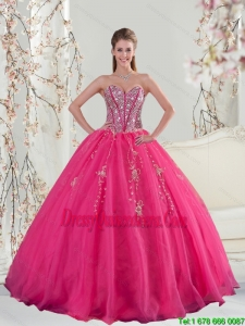 2015 Sweetheart and Detachable Hot Pink Sequins and Appliques Prom Dresses
