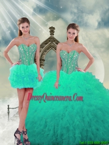 2015 Trendy Beading and Ruffles Sweet 16 Dresses in Apple Green