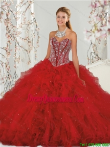 Most Popular and Detachable Beading and Ruffles Red Dresses for Quinceanera