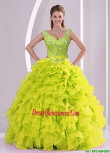 Trendy and Vintage Beading and Ruffles Yellow Green Quince Dresses for 2015