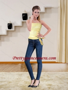 2015 Cute Strapless Light Yellow Corset with Bowknot