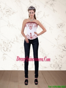 Strapless White and Wine Red Corset with Embroidery