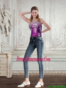 2015 Cute Strapless Embroidery and Beading Corset in Dark Purple