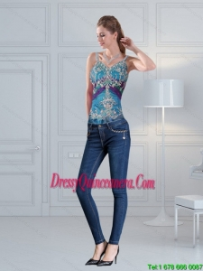 2015 Straps Multi Color Corset with Hand Made Flower and Pick Ups