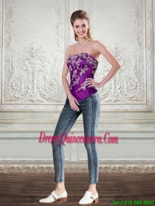 New Style Dark Purple Strapless Corset with Embroidery