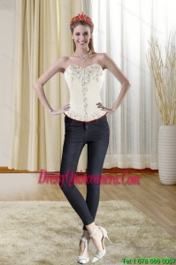 2015 Beautiful Strapless Corset with Ruching for Spring