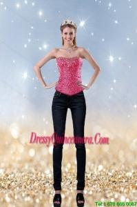 2015 Girls Fashionable Pink Sweetheart Corset With Beading