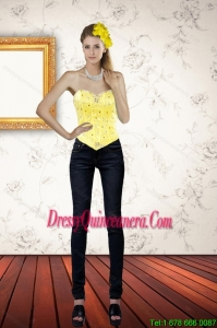 Cute Sweetheart Beading and Ruffled Yellow Corset for 2015