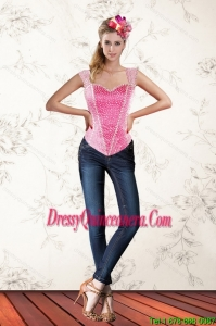 Hot Pink 2015 Sweetheart Corset with Beading and Ruffles