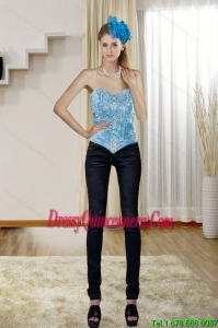 New Style Sweetheart Teal 2015 Corset with Embroidery