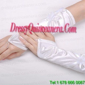 Attractive Satin Fingerless Elbow Length Bridal Gloves With Hand Made Flower