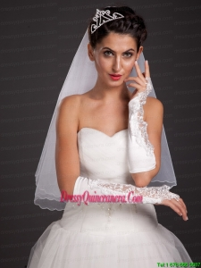Chic Satin Elbow Length Fingerless Appliques Bridal Gloves