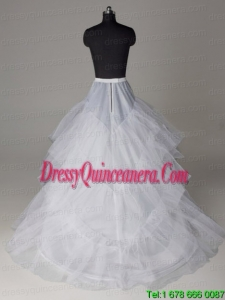 Three Layers A Line Brush Train Wedding Petticoat