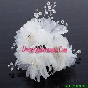 Beautiful Rhinestone Pearl Chiffon Hair Flowers