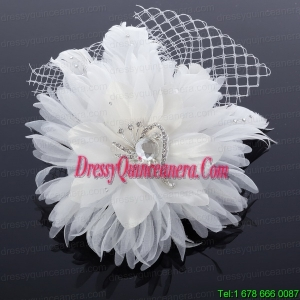 Elegant White Taffeta/Tulle Wedding Fascinators Hair Flower
