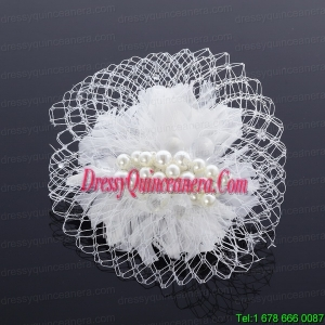 Feather and Tulle Imitation Pearls Feather Flower Hairpin for Outdoor