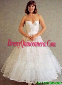 Trendy Organza Ball Gown Ankle Length White Petticoat
