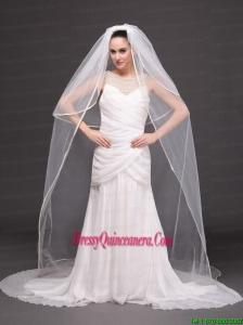 Two-tier Tulle White Chapel-length Bridal Veils