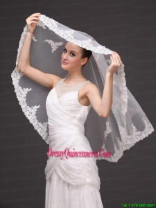 Two-tier Tulle With Appliques Elbow Length Veil