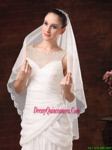 Two-tier Tulle With Embroidery For Graceful Wedding