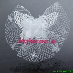 2014 Cheap Tulle Beading Wedding Net Yarn Briadl Hat