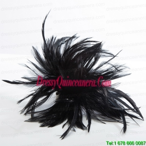 2014 Simple Feather Black Feather Flower Hairpin