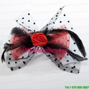 Cheap Tulle Black Feather Flower Hairpin for Wedding