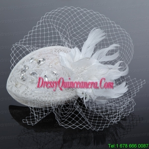 Elegant White 2014 Rhinestone Feather Hat Hair Ornament