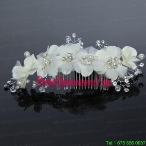Green Tulle Rhinestone and Imitation Pearls 2014 Hair Combs