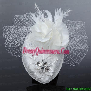 White 2014 Lovely Rhinestone Feather Hat Hair Ornament