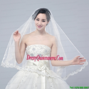 Angle Cut Two-Tier Lace Appliques Edge Chapel Bridal Veils