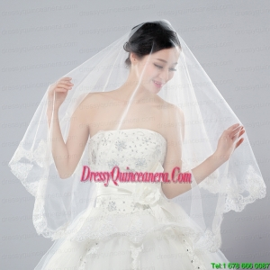Eelgant One-Tier Angle Cut Bridal Veils with Lace Edge