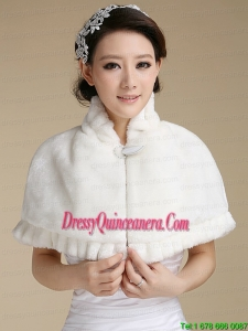 Ivory Faux Fur Shawl With Button Front Closure