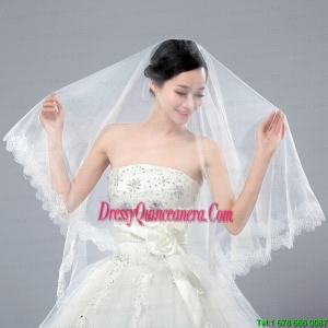 One-Tier Angle Cut Wedding Veils with Lace Appliques Edge