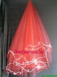 Red Tulle Wedding Veil