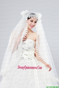 Cheap One-Tier Lace Edge Drop Veil Wedding Veils
