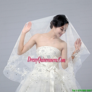 One-Tier Drop Veil Cut Edge 2014 White Bridal Veils